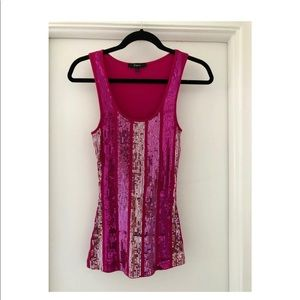 Express Sequined Fuchsia Pink Tank Top Size Small